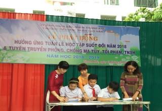 Lễ phát động Hưởng ứng Tuần lễ học tập suốt đời 2018 và Tuyên truyền, ký cam kết phống chống Ma tuý, tội phạm và TNXH năm 2018.